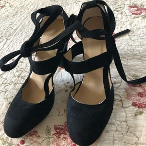 Black suede chunky heels. Brand new. Never worn